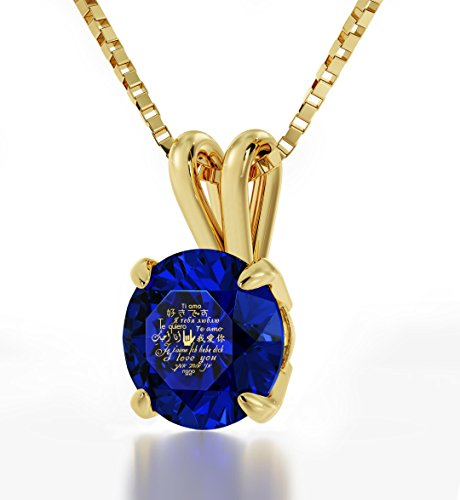 Gold Plated Love Pendant - Heart Jewelry - I Love You Necklace Inscribed In 12 Languages In 24Kt Gold On Blue Sapphire Swarovski Stone - Unique Gifts For Women