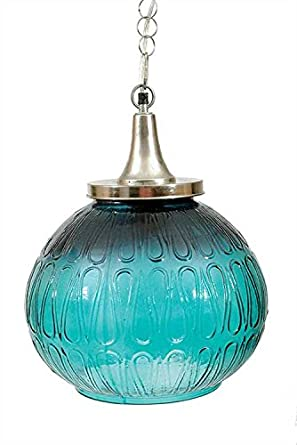 turquoise glass wired pendant light fixture