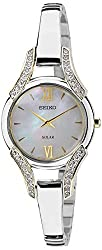 Seiko Solar Analog Mother of Pearl Dial Womens Watch - SUP214P1