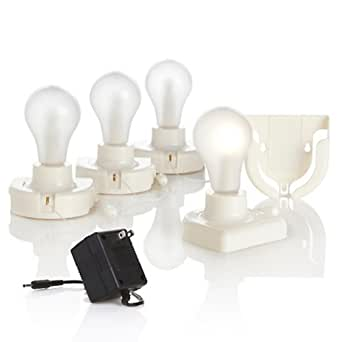 As Seen on TV InstaBulb - Set of 4 Insta Light Blubs Battery Operated + Adapter - Led Household ...