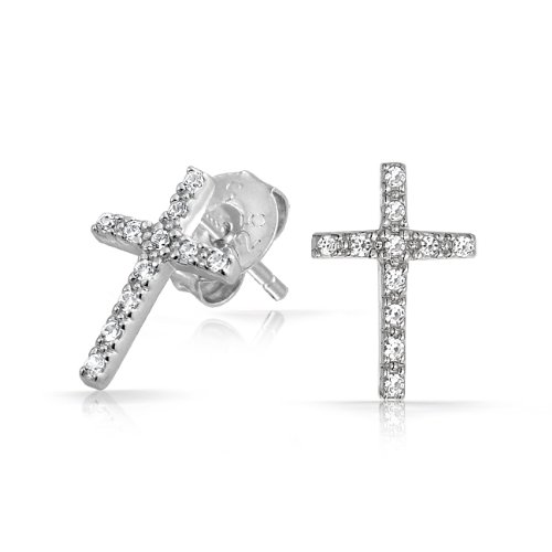 Christmas Gifts Bling Jewelry Sterling Silver Pave CZ Cross Stud Earrings