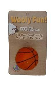 "Orange Wool 2"" Felted Wool Basket Ball Dog Toy"