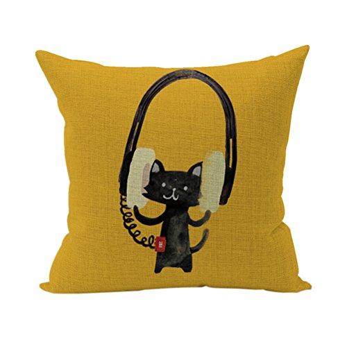 Nunubee Bunte Kissenbezug Dekokissen Haus Dekoration weich Quadrat Sofa Kissen Katze A