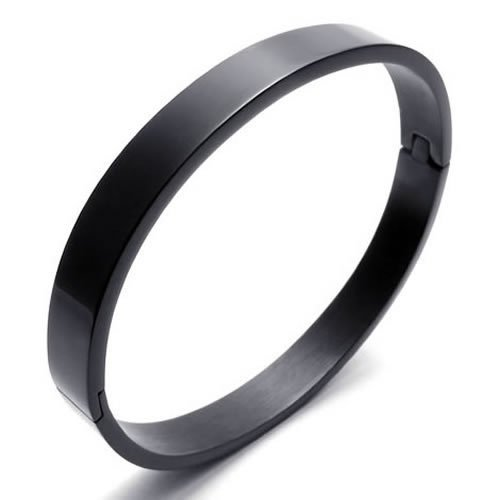 Konov Jewellery Polished Stainless Steel Bangle Unisex Womens Cuff Bracelet, Colour Black (with Gift Bag)