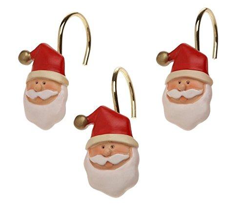Lulu Home Fashions resina Babbo Natale in ceramica doccia tenda hooks-set di 12