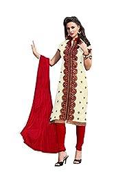 Cream colour embroidered chanderi fabric semi stich churidar dress material