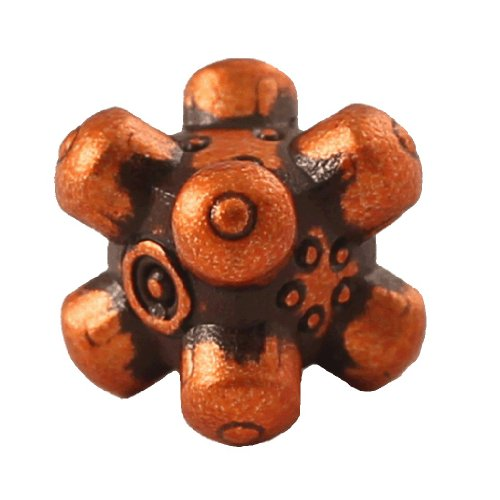 1 (One) Single IronDie: Solid Metal Italian Dice - Orange Barrier (Die-Cast Designer Six-Sided Die / d6) - 1