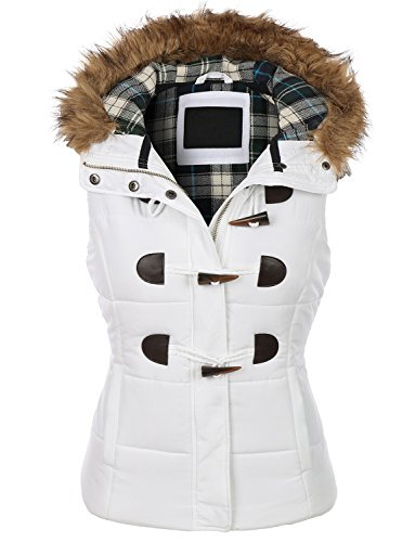 RubyK Womens Basic Padded Puffer Quilted Jacket Vest with Hoodie,Medium,RBKWV2099_WHITE (Fur Trim Hood Vest compare prices)