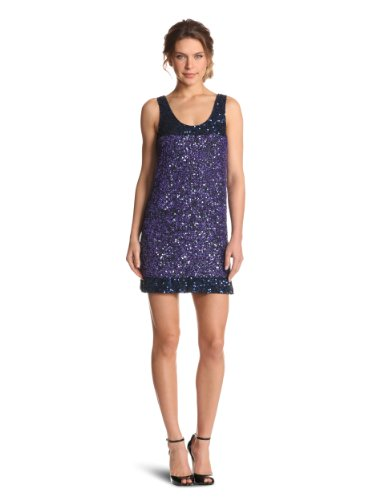 French Connection Women's Rainbow Sequins Dress, Blue, 4