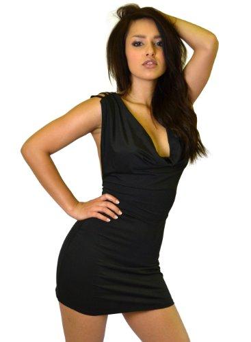 Black Open String Back Cowl Neck Mini Clubbing Dress