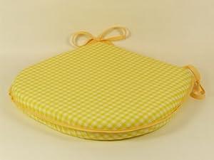 Yellow Lemon Gingham Check Tie On Chair