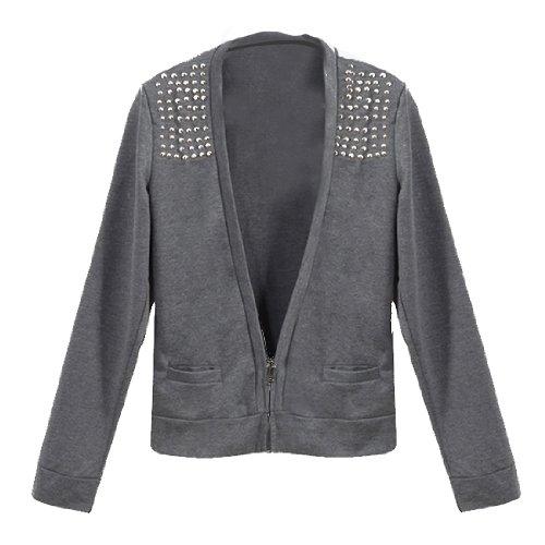 Men UK Style Long Sleeve Studded Zip up Cardigan Coat Dark Gray S