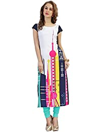 Ziyaa Multicoloured Boat Neck With Cap Sleeve Faux Crepe Digital Print Kurti
