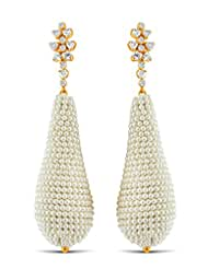 Aastha Jain Pearl Cluster Drop Sterling Silver(18k Gold Polish) Earring For Women