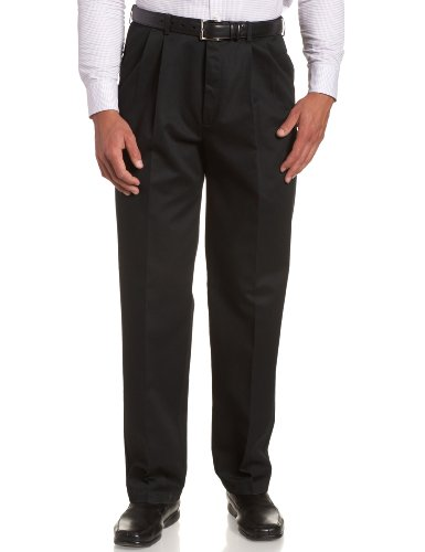 Haggar Men's Big-Tall Work to Weekend Hidden Expandable Waist Pleat Front Pant,Black,54x30