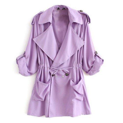 Minetom Cappotto Giacca Manica Lunga Fusciacca Trench Coat Donna ( Porpora EU M )