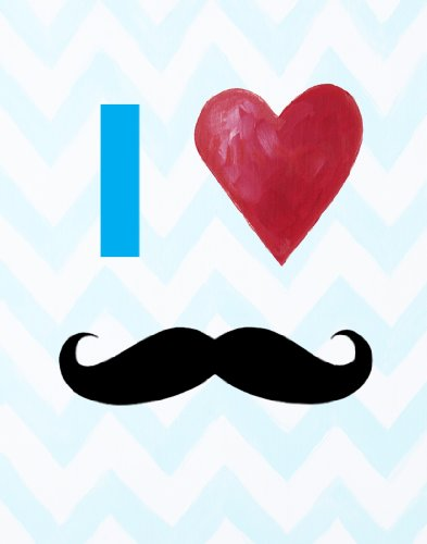 Cici Art Factory Wall Hanging, I Heart Mustaches Blue