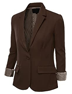 9XIS Womens Boyfriend Blazer,Brown,Medium