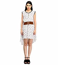 Snoby White Printed Stacker Dress (SBY_6002)