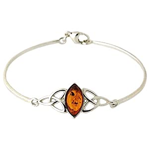 The Olivia Collection Ladies 925 Sterling Silver Amber Bangle