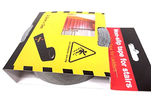 Stair Safety Tape Black - Non Slip Treads,1 Inch X 199 Inch (2.5Cm X 5M)