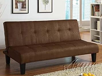 Emmet chocolate microfiber fabric upholstered adjustable sofa futon bed with tufted back and dark finish legs