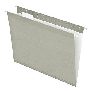 Pendaflex Reinforced Hanging Folders, Letter Size, Gray, 25 per Box (4152 1/5 GRA)