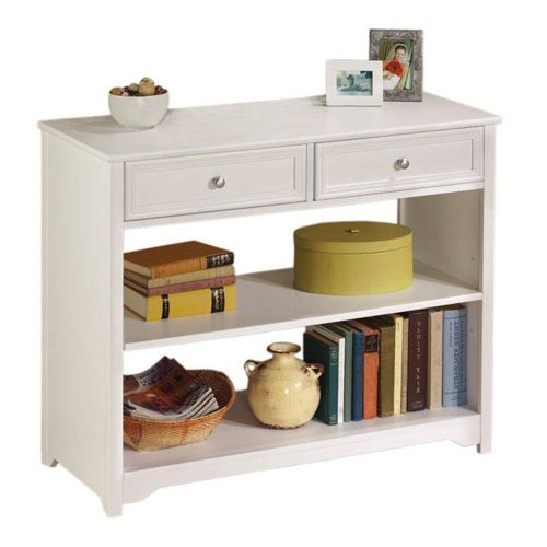 oxford 36 5 inch white two drawer and open shelf console. Black Bedroom Furniture Sets. Home Design Ideas