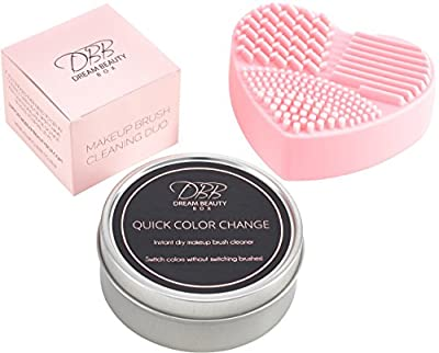 Best Cheap Deal for BEST MAKEUP BRUSH CLEANER DUO KIT - Quick Color Change Dry Sponge Instantly Removes Color From Brushes, Switch Color Without Switching Brush. Pink Multi-Textured Silicone Heart Mat,Glove Cleaning Tool from Dream Beauty Box - Free 2 Day