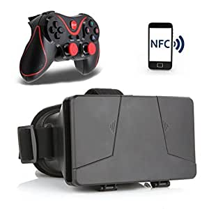 LEAP-HD 2015 NEW UPDATED! VIRTUAL REALITY CARDBOARD Plastic Version 3D VR Complete Kit Virtual Reality Glasses Headset for Real HD 3d Experience (PRO NFC Tag-T3)