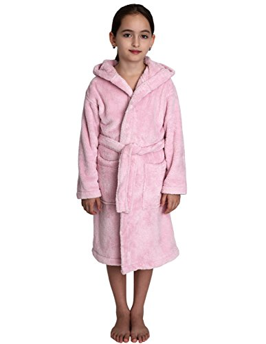TowelSelections Girls Hooded Plush Robe Soft Fleece Bathrobe Made in Turkey