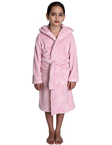 TowelSelections Girls Hooded Plush Robe Soft Fleece Bathrobe Made in Turkey