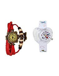 ANALOG KIDS WATCH WITH HELLO KITTY CARTOON PRINTED ON DIAL AND STRAP WITH FREE RED WOMAN BRACELET WATCH - B01BF5IBV8