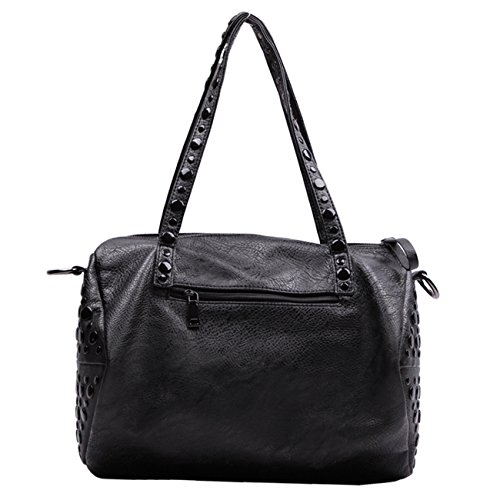 Little Hand Womens Classic Style Sequin Accent Soft Faux Leather Top Handle Bag