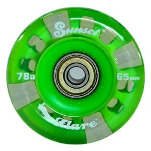 "Sunset Flare ""Longboard"" Wheel Set / 65Mm With Green Led'S"