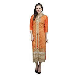 Women's Stitched Orange Kurti with heavy work and sequins on front. (15DC07-Orange-44)