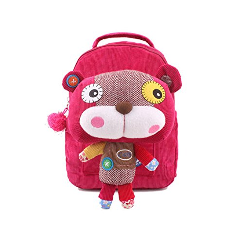 """Modovo Animal Cartoon Style Kid Backpack Rose Cat 11""""X 8""""X 4"""" With 40' Safety Harness front-204612"""
