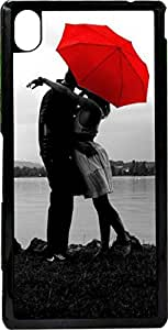 Dot Print Back Cover For Sony Xperia M4 AQUA DUAL Lovely Couple in Rain Printed Case