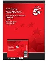 5 Etoiles ETL-333271 333271 Boîte de 50 transparents pour toutes Imprimantes jet d'encre PVC Incolore