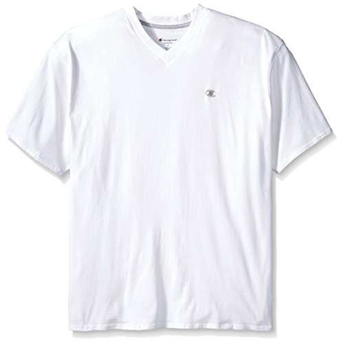 Champion Men's Big and Tall Short Sleeve Jersey V-Neck T-Shirt, White, 2X-Large/Tall (Big And Tall V Neck T Shirts compare prices)