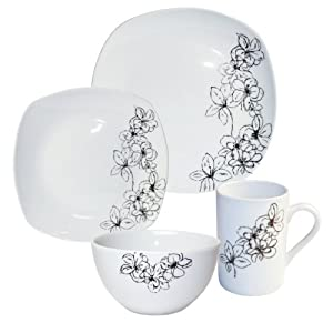Arte Viva 16-Piece Tosca (Black) Porcelain Dinnerware Place Setting, Serving for 4