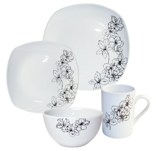 Arte Viva 16-Piece Tosca (Black) Porcelain Dinnerware Place Setting, Serving for 4
