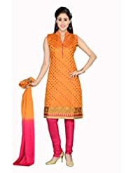 Ritu Creation Women's New Silk Stitched Chudidar Suit With Top Heavy Embroided(Orange)
