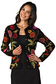 Tey-Art Poppies Intarsia Alpaca Cardigan