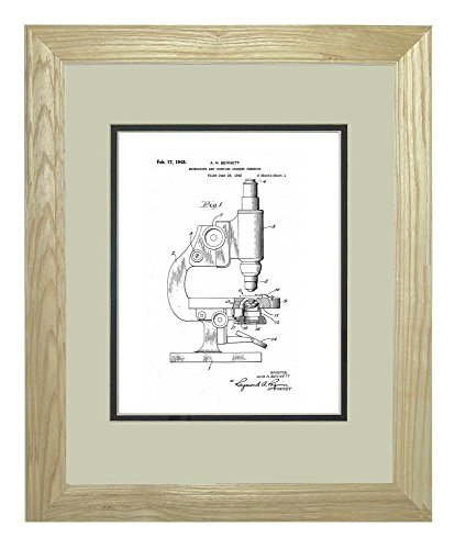 "Microscope And Counting Chamber Patent Art White Matte Print In A Natural Raw Wood Frame (11"" X 14"")"