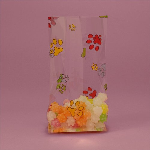 Rainbow Paw Print Cello Bags - 4in X 2.5 X 9.5in X 2in - 10 bags