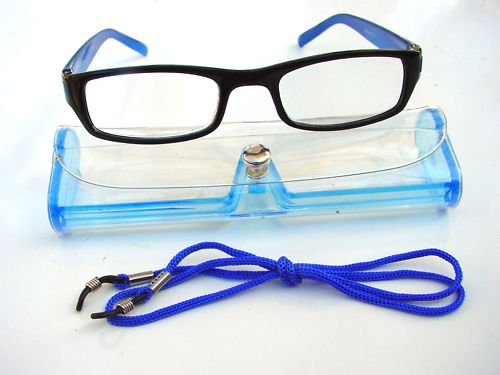BLACK & BLUE READING GLASSES WITH NECK CORD & CASE RANGE OF STRENGTHS D523 (+2.5)