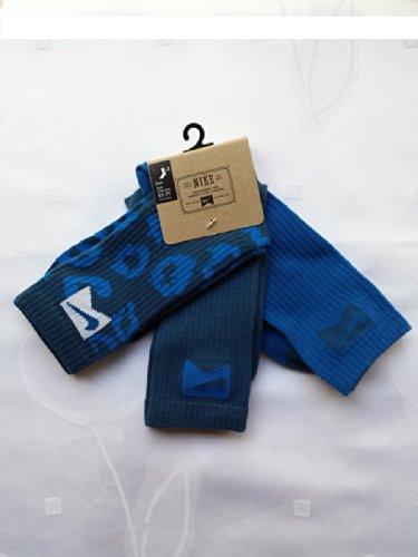 Nike 3 Pairs/Pack High Crew Socks, Youth, Grey/Blue, 5Y-7Y