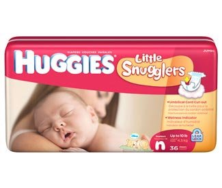 Huggies Little Snugglers Newborn Baby Diapers, Case/216 (6 bags of 36)