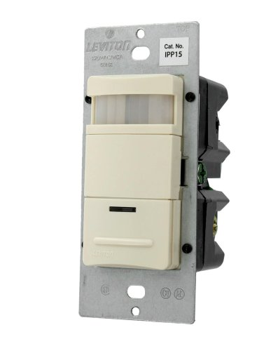Leviton Ipp15-1Ft Single Pole Or 3-Way, Manual On/Auto Off, Neutral Required, 15Amp, 120Vac, Nafta, Incandescent Occupancy Sensor, Light Almond